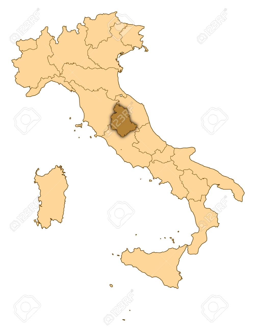 Cartina Abruzzo Umbria.Immagini Stock Mappa D Italia Dove E Evidenziato Umbria Image 14415057