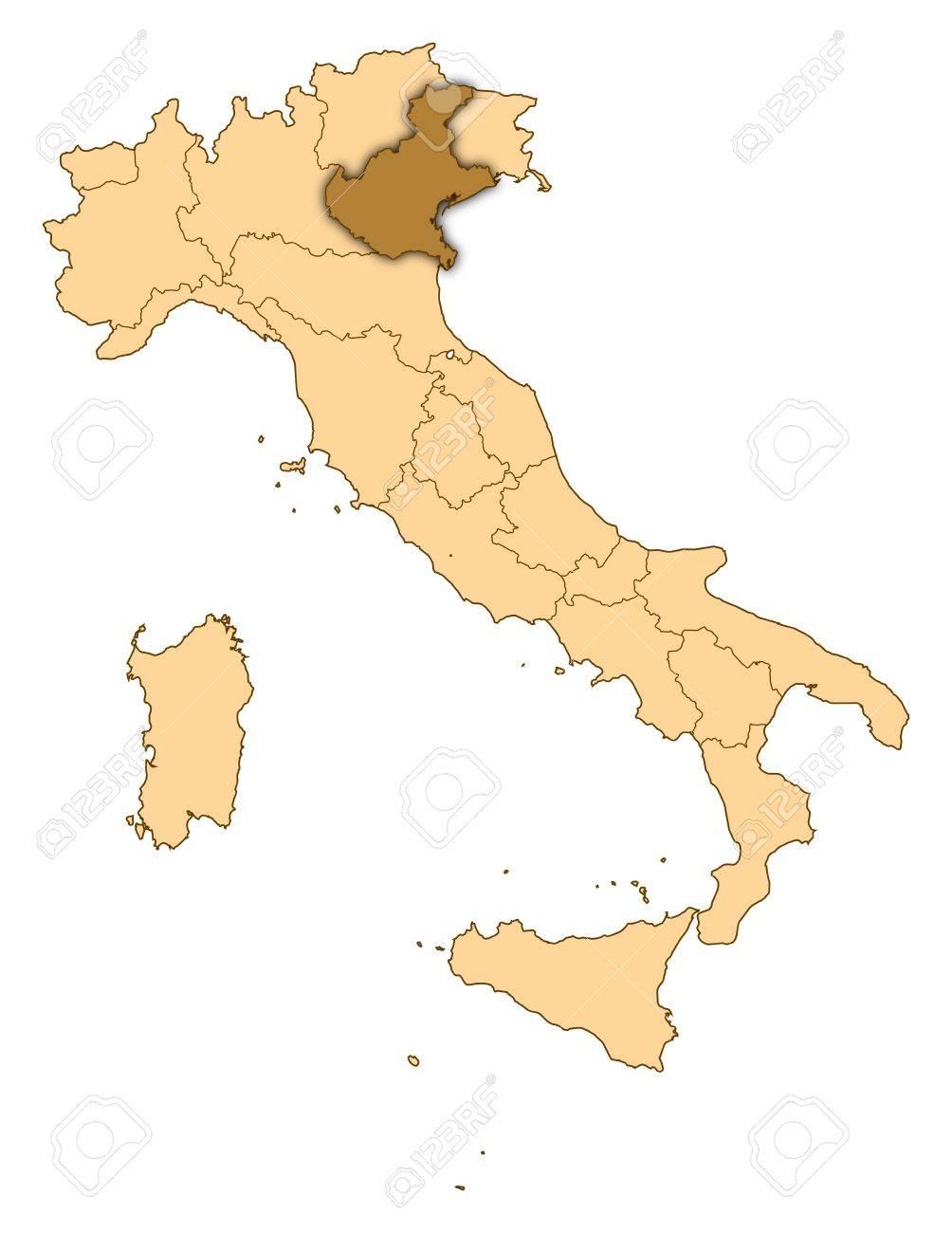Cartina D Italia Veneto.Immagini Stock Mappa D Italia Dove E Evidenziato Veneto Image 14415066