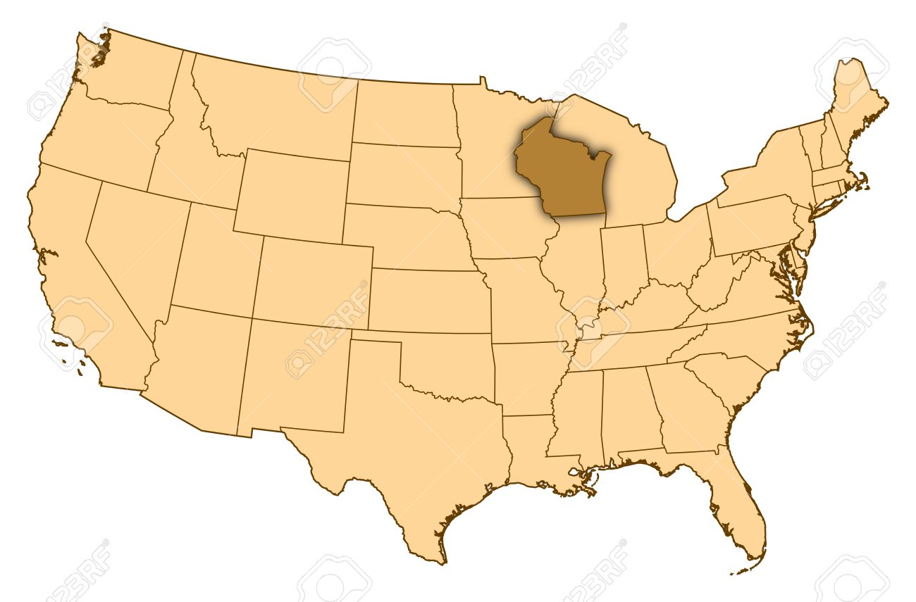 Map Of United States Where Wisconsin Is Highlighted Stock Photo