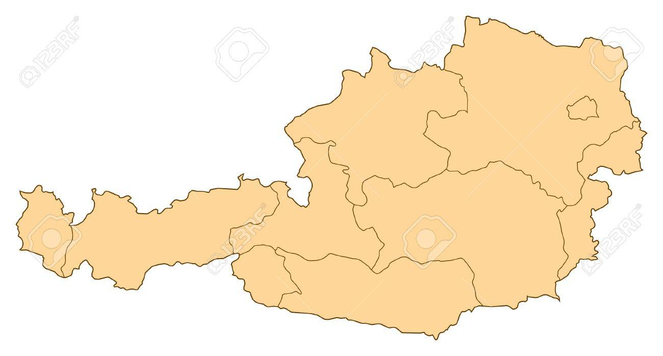 Map of Austria with the several provinces. - 14449988
