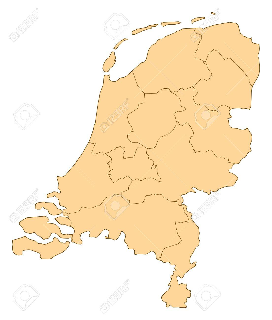Map of Netherlands with the several provinces. - 14449986