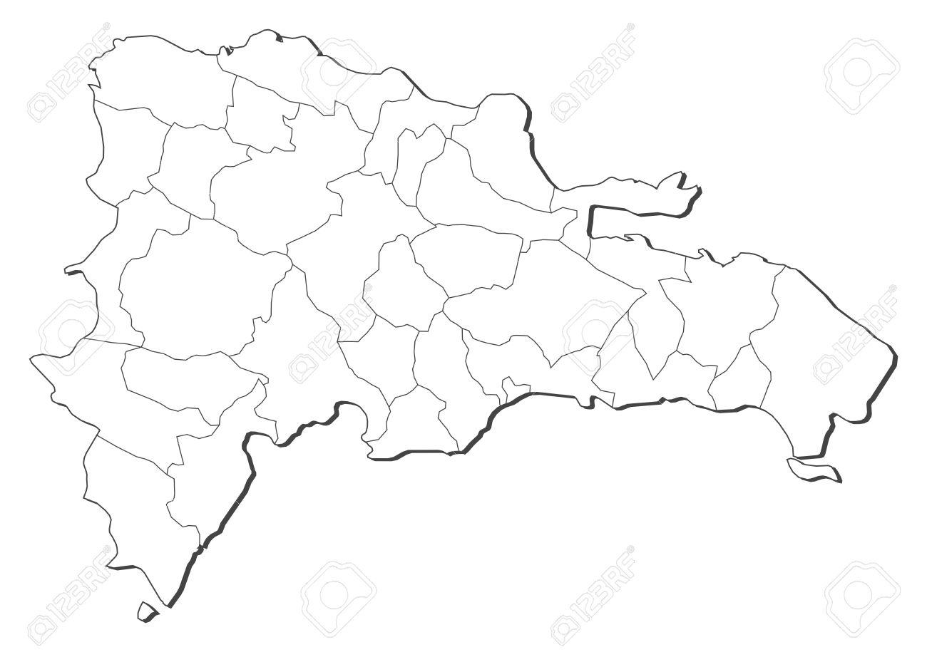 Mapa De Republica Dominicana En Blanco.Mapa Politico De La Republica Dominicana Con Las Diversas Regiones