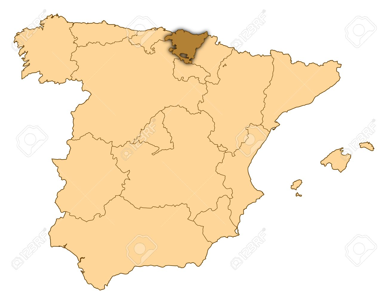 Map Of Spain Where Basque Country Is Highlighted Stock Photo