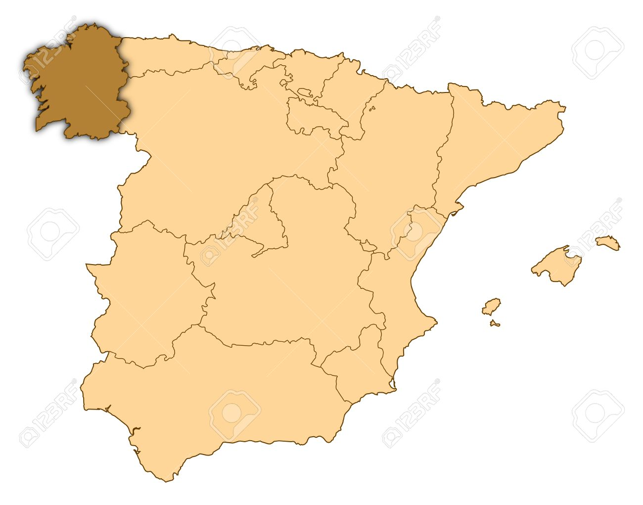 Map Of Spain Where Galicia Is Highlighted Stock Photo Picture And