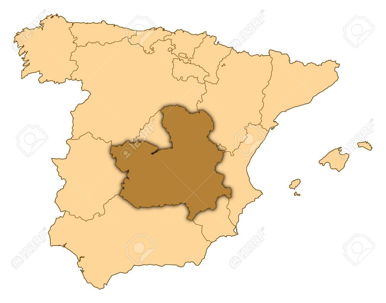 La Mancha Spain Map.Map Of Spain Where Castile La Mancha Is Highlighted Stock Photo