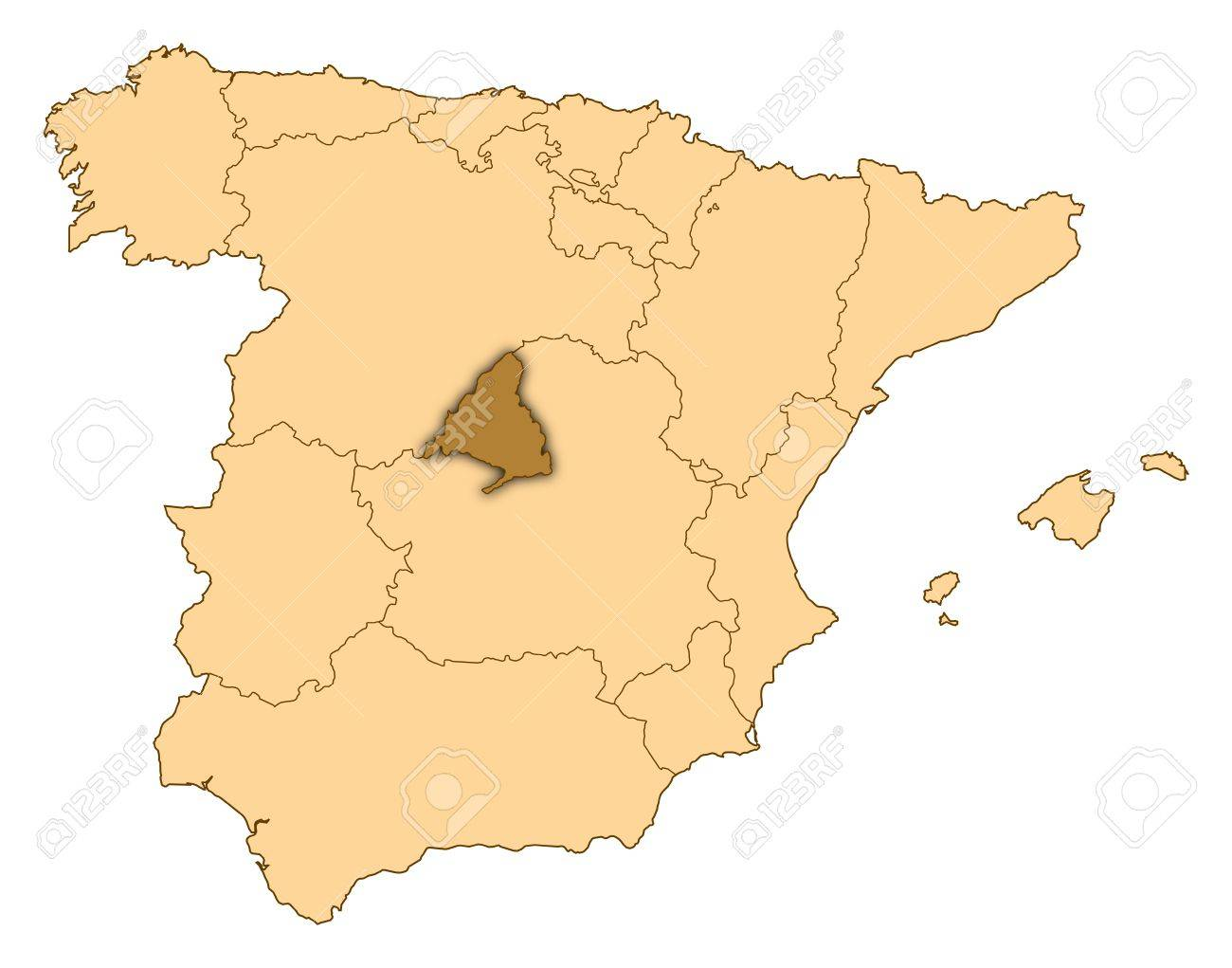 Map Of Spain With Madrid.Map Of Spain Where Madrid Is Highlighted
