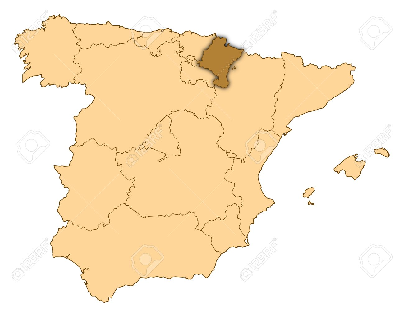 Map Of Spain Navarra.Map Of Spain Where Navarre Is Highlighted