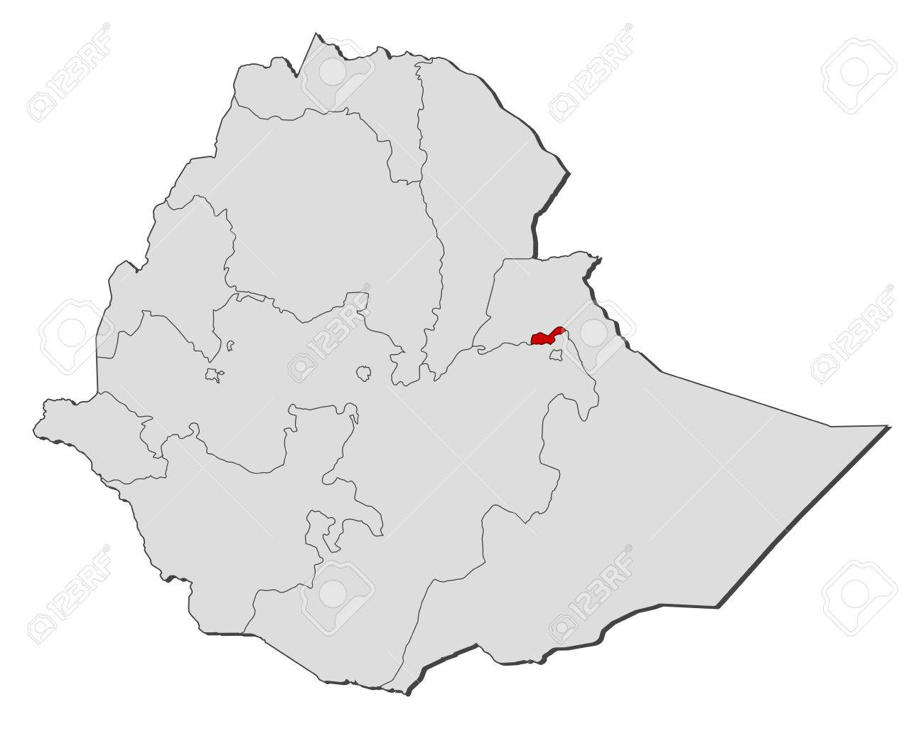 Map Of Ethiopia With The Provinces Dire Dawa Is Highlighted