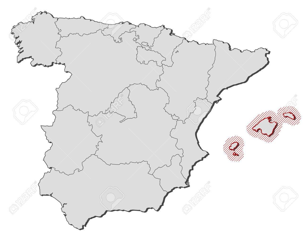 Spagna E Isole Baleari Cartina.Vettoriale Mappa Della Spagna Con Le Province Isole Baleari E Evidenziato Da Un Tratteggio Image 57832534