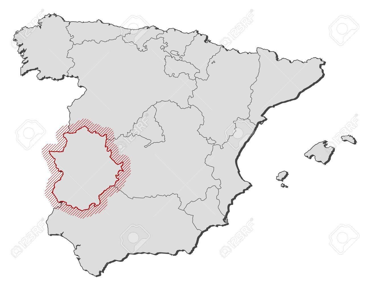 Estremadure Espagne Carte.Carte De L Espagne Avec Les Provinces L Estremadure Est Soulignee Par Une Eclosion