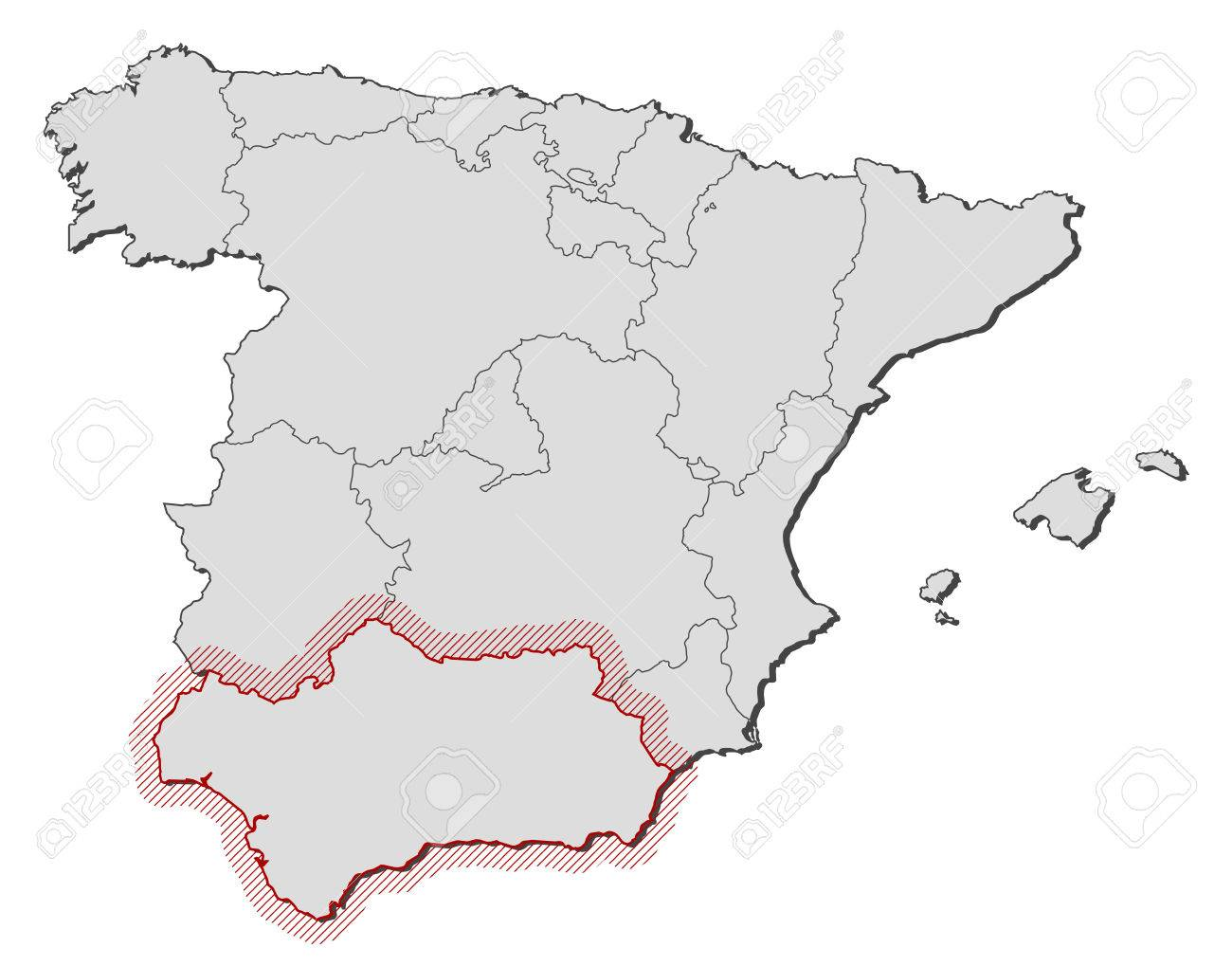 Map Of Spain With The Provinces Andalusia Is Highlighted By