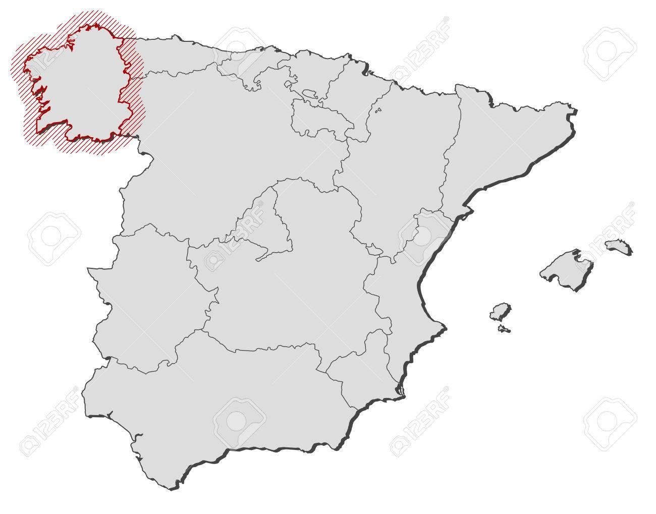 Mapa De Espana Con Las Provincias Galicia Se Destaca Por Una