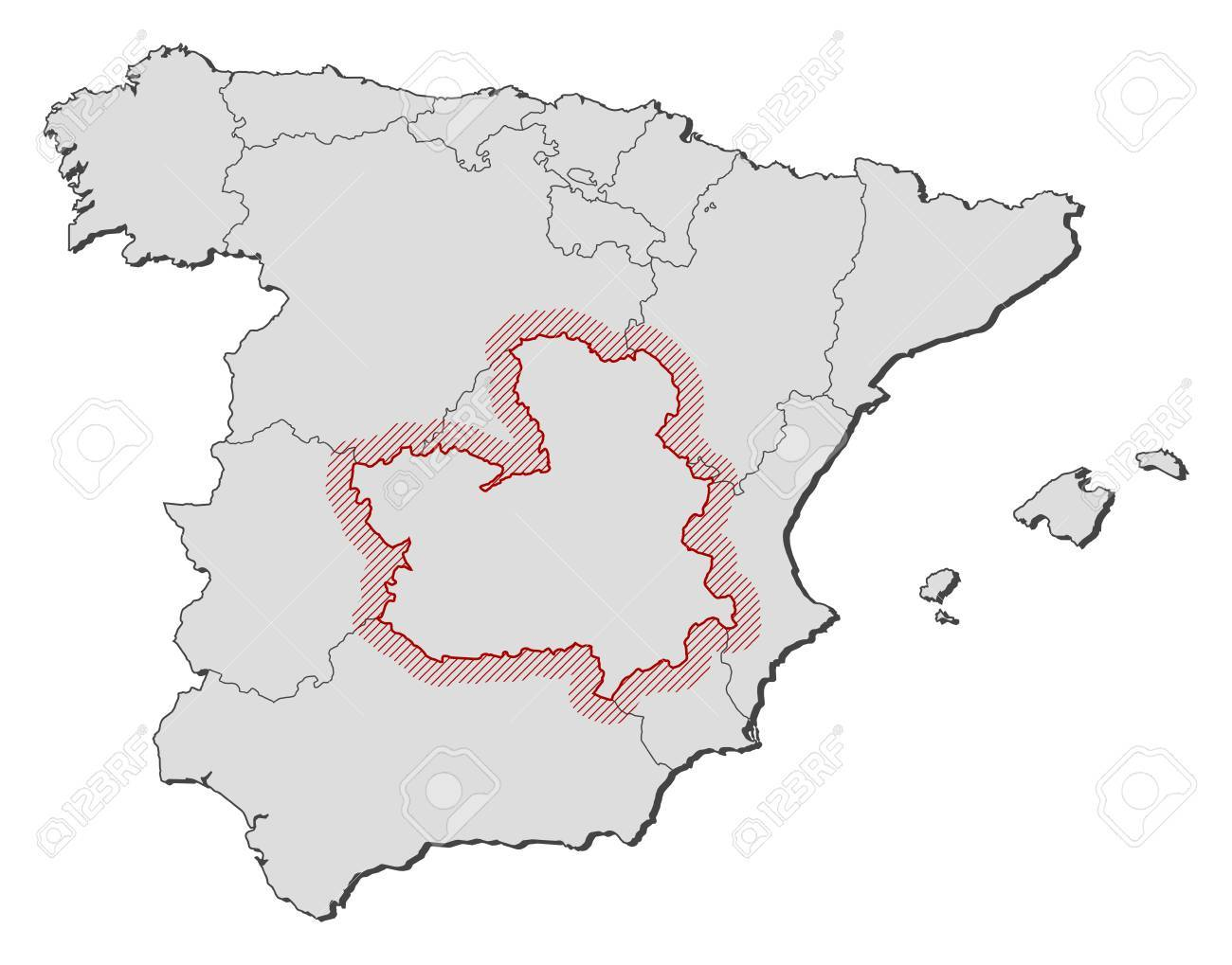 Map Of Spain With The Provinces CastileLa Mancha Is Highlighted