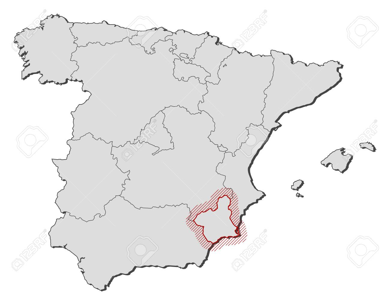 Murcia Map Of Spain.Map Of Spain With The Provinces Murcia Is Highlighted By A Hatching