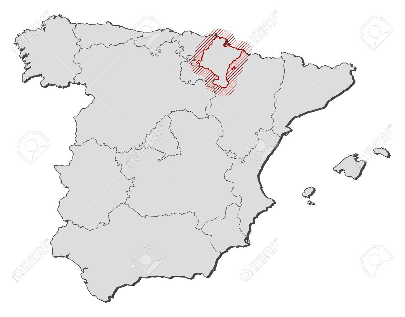 Map Of Spain With The Provinces Navarre Is Highlighted By A