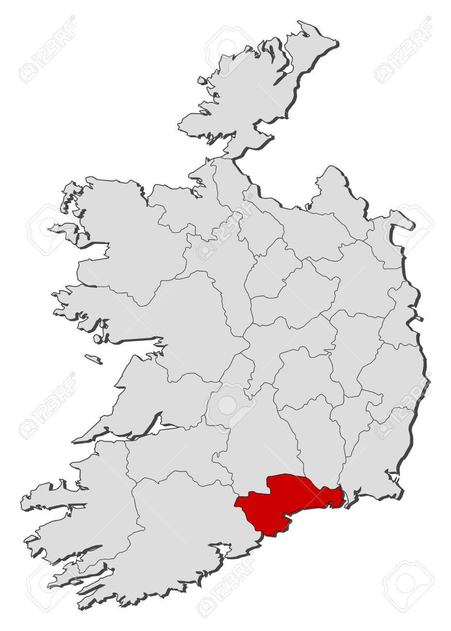 Map Of Ireland With The Provinces Waterford Is Highlighted Royalty