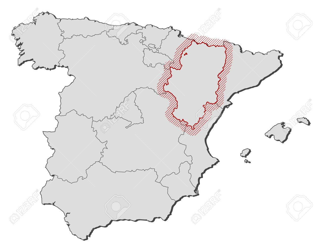 Map Of Spain With The Provinces Aragon Is Highlighted By A Hatching
