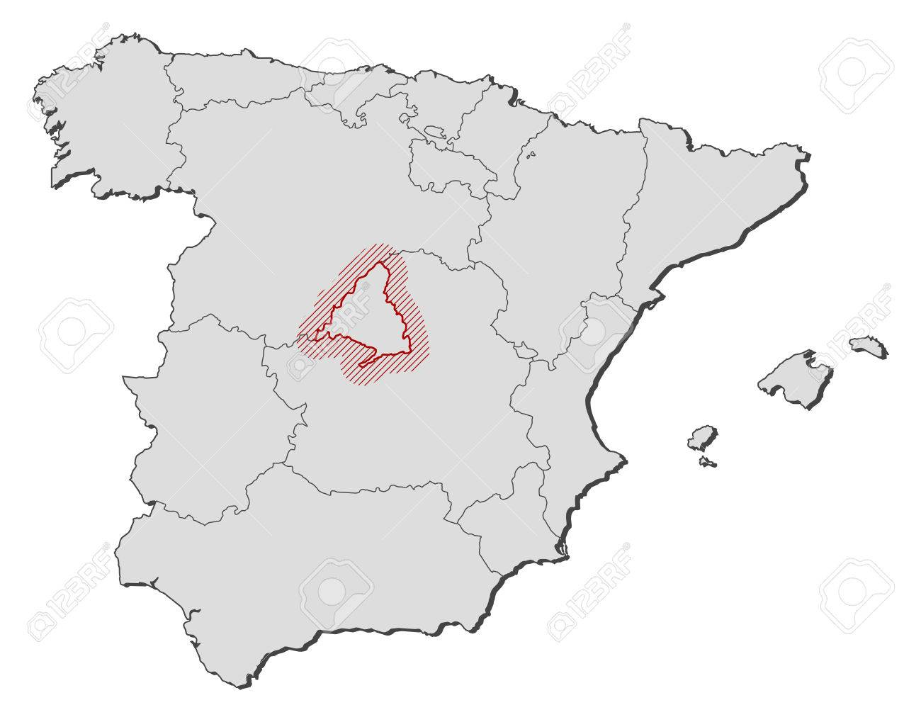 Map Of Spain With Madrid.Map Of Spain With The Provinces Madrid Is Highlighted By A Hatching