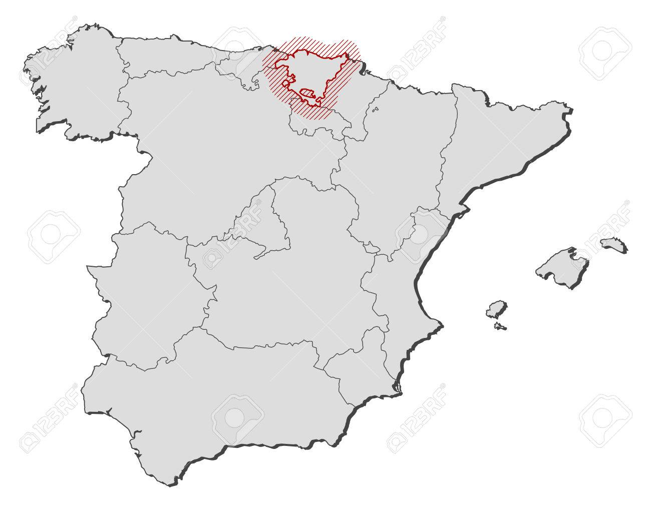 Map Of Spain With The Provinces Basque Country Is Highlighted