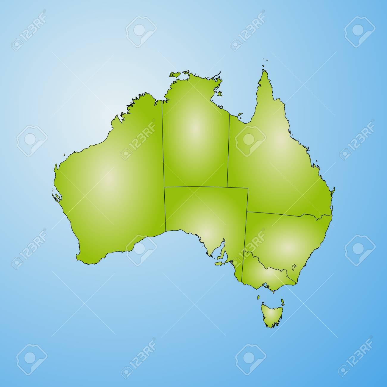 Australia Map Provinces.Map Of Australia With The Provinces Filled With A Radial Gradient
