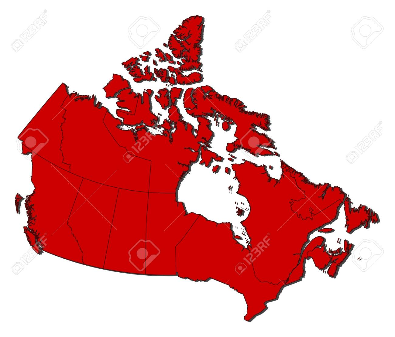 Map Of Canada Red.Map Of Canada With The Provinces Colored In Red