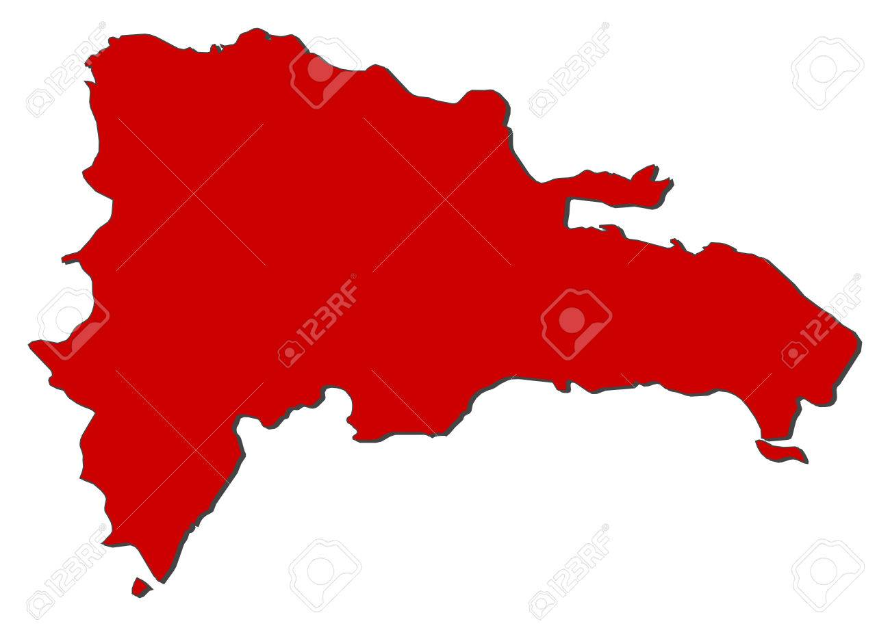 Map Of Dominican Republic With The Provinces Colored In Red - Dominican republic map vector