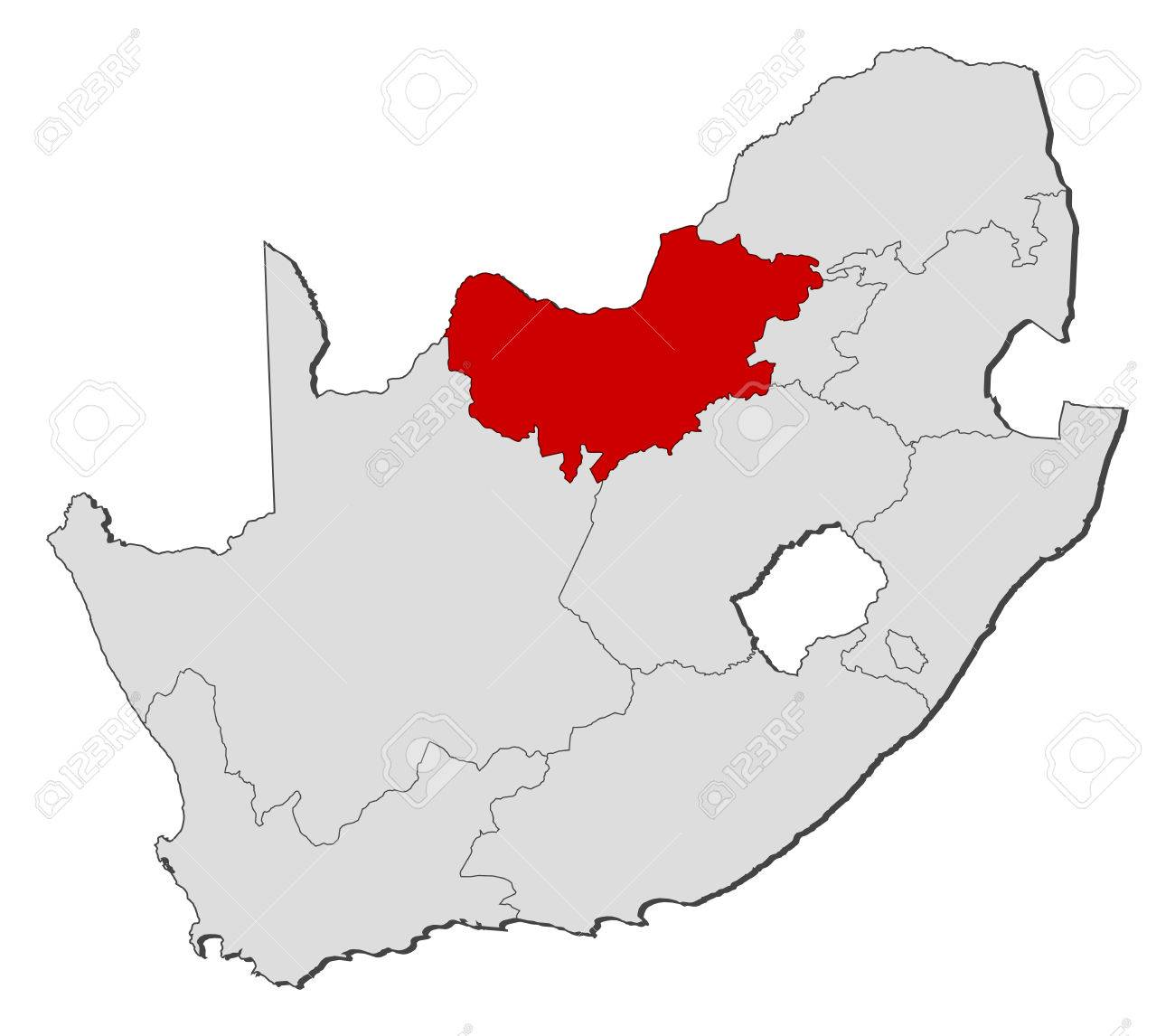 South Africa North West Map.Map Of South Africa With The Provinces North West Is Highlighted