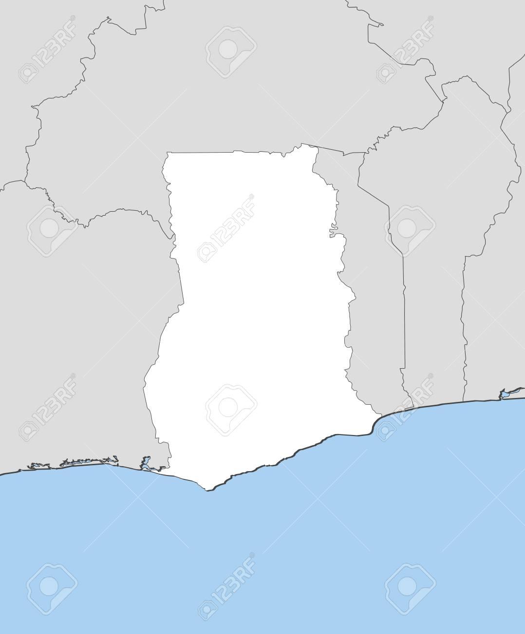 Ghana Karte.Stock Photo