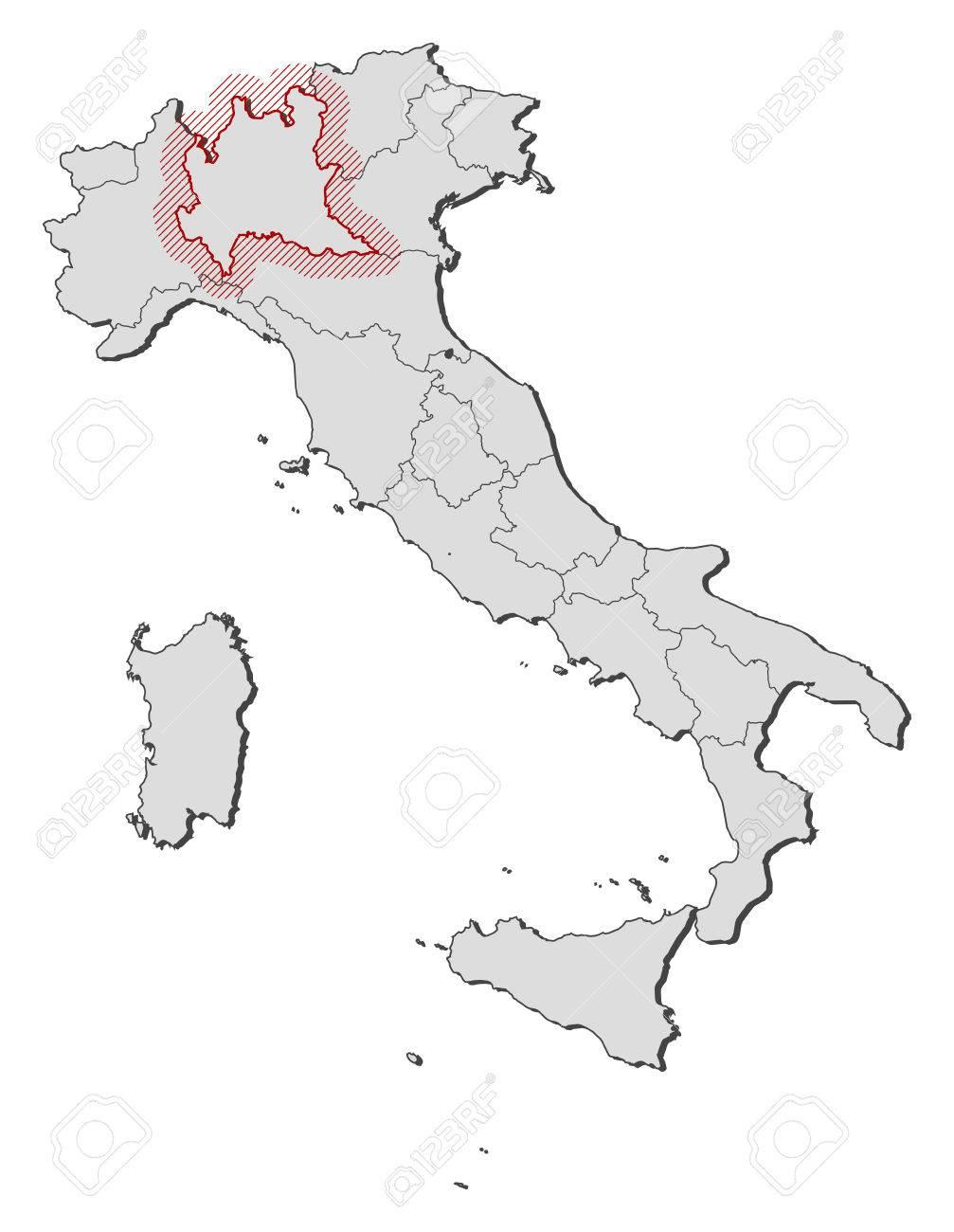 Lombardia Cartina Province.Vettoriale Mappa D Italia Con Le Province La Lombardia E Evidenziato Da Un Tratteggio Image 58073836