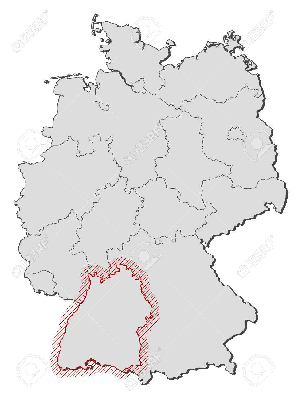 Map Of Germany With The Provinces Baden Wurttemberg Is