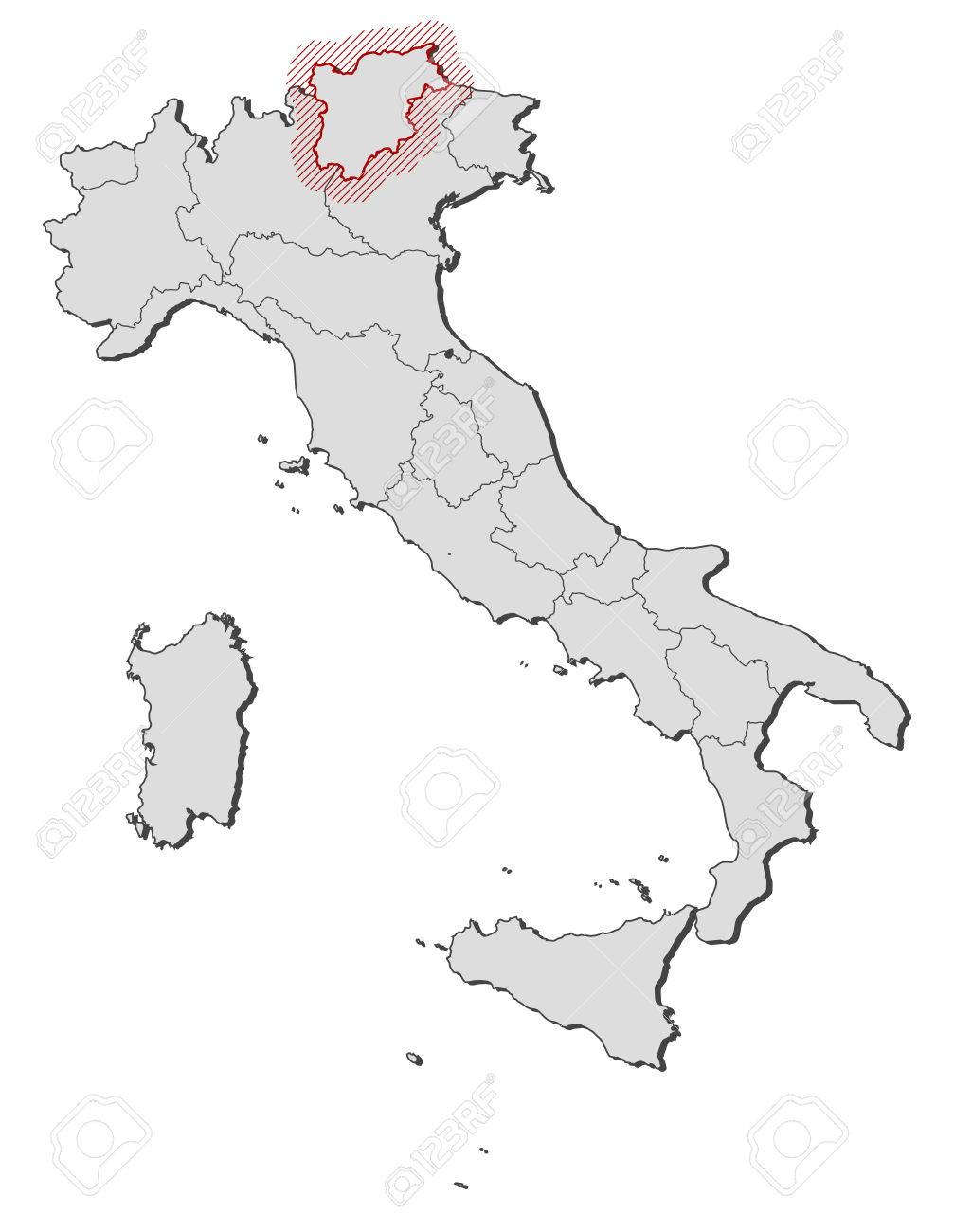 Cartina Italia Trentino Alto Adige.Map Of Italy With The Provinces Trentino Alto Adige Is Highlighted Royalty Free Cliparts Vectors And Stock Illustration Image 58073973