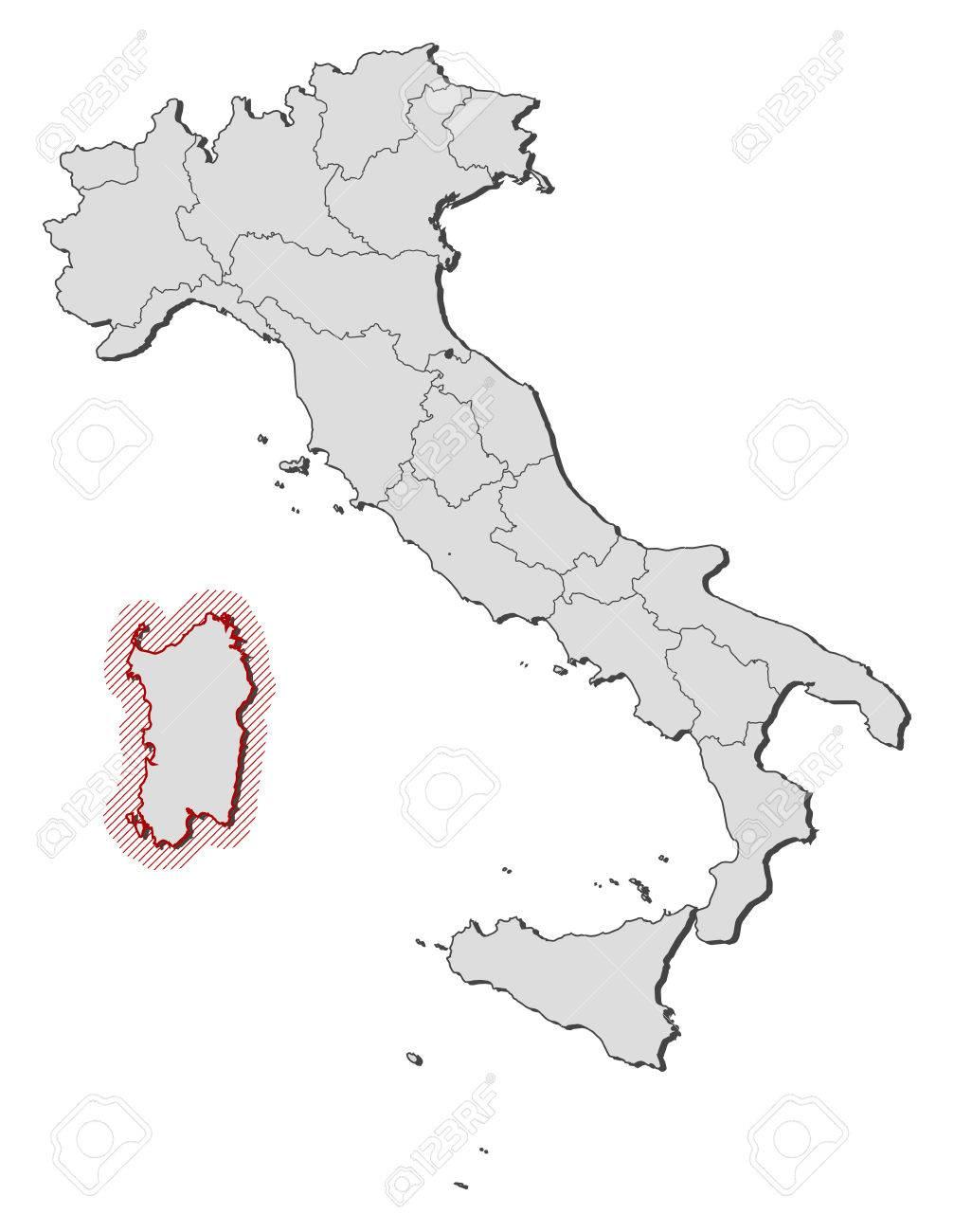 Cartina Sardegna Vettoriale.Vettoriale Mappa D Italia Con Le Province La Sardegna E Evidenziato Da Un Tratteggio Image 58073981