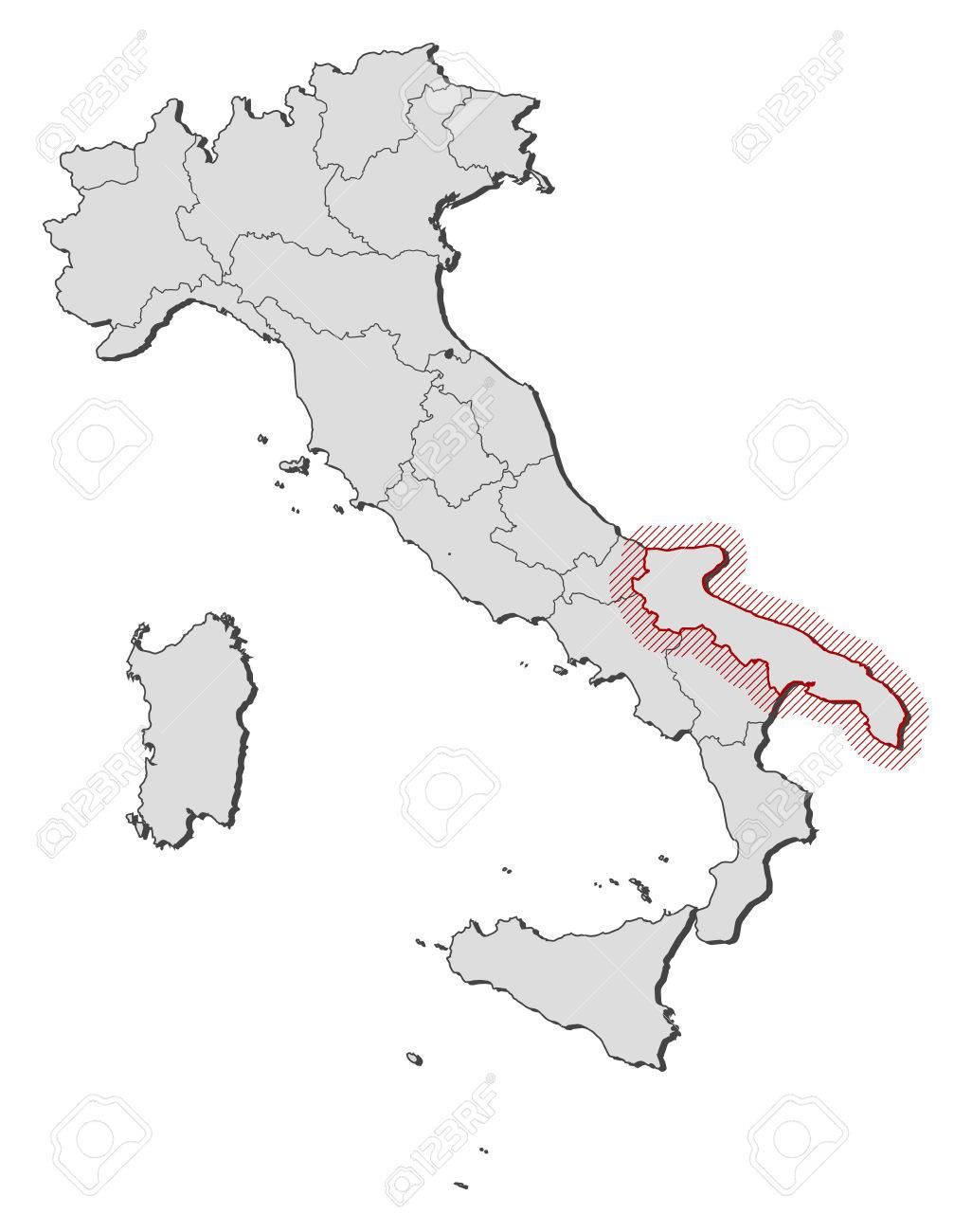 Cartina Muta Puglia.Vettoriale Mappa D Italia Con Le Province La Puglia E Evidenziato Da Un Tratteggio Image 58074048