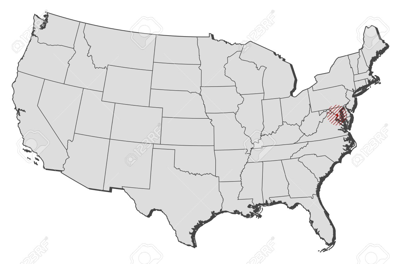 Map of United States with the provinces, Washington D.C. is highlighted..