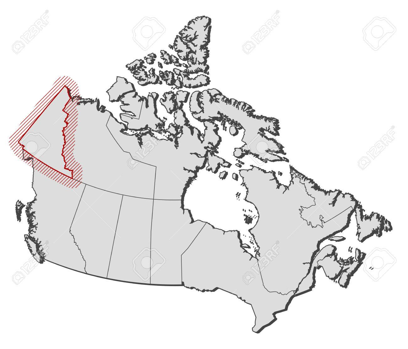 Carte Canada Yukon.Map Of Canada With The Provinces Yukon Is Highlighted By A Hatching