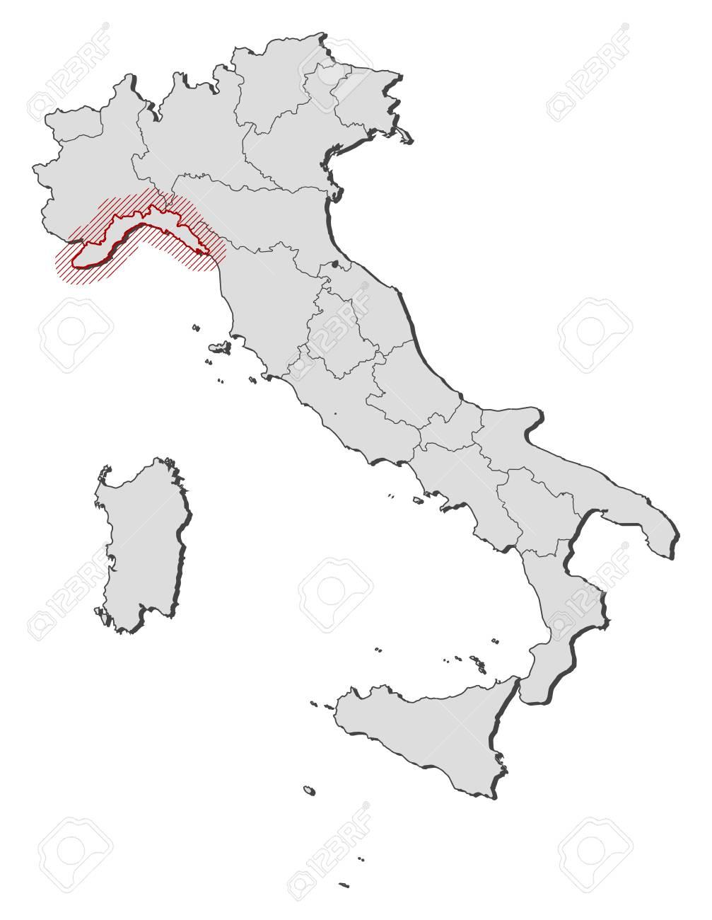Cartina Liguria Con Province.Vettoriale Mappa D Italia Con Le Province La Liguria E Evidenziato Da Un Tratteggio Image 58074064