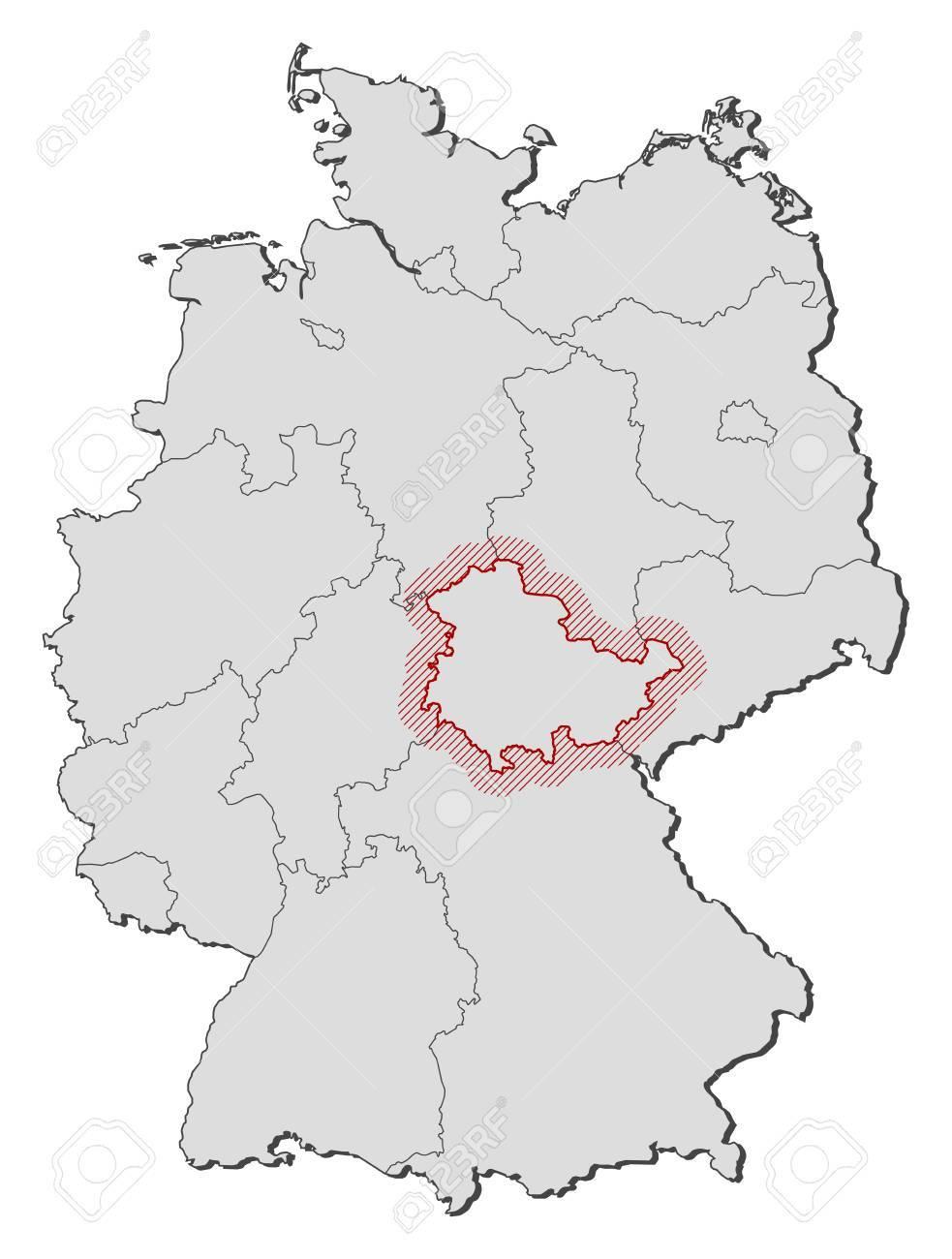 Carte Allemagne Thuringe.Carte De L Allemagne Avec Les Provinces Thuringe Est Mis En