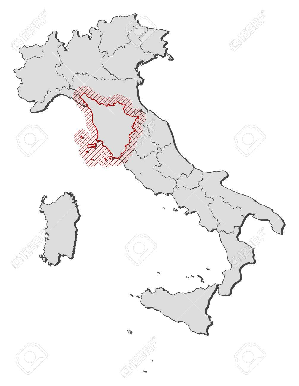 Map of Italy with the provinces, Tuscany is highlighted by a..