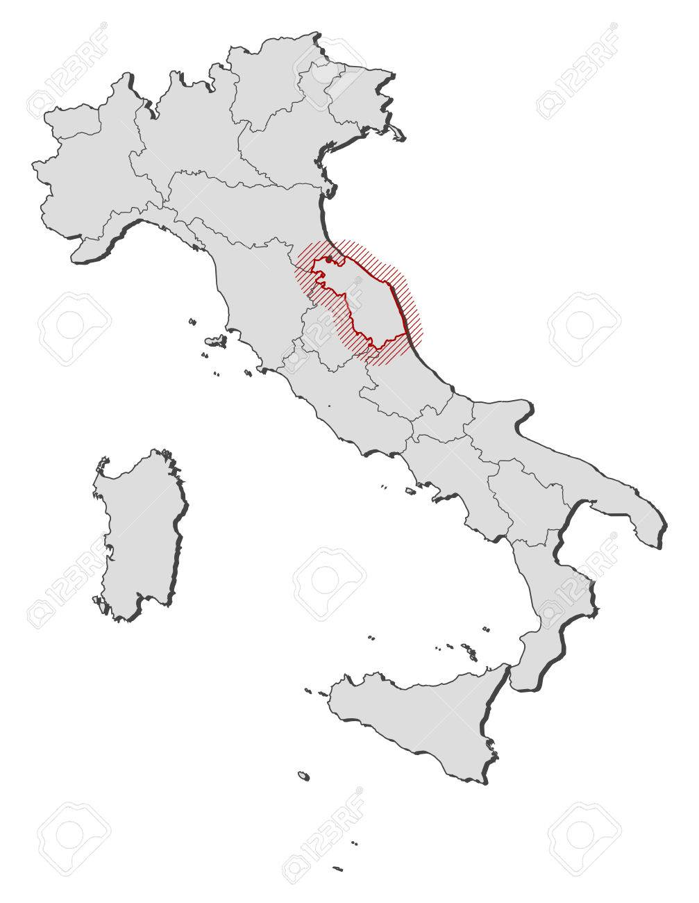 Map Of Italy With The Provinces Marche Is Highlighted By A Hatching
