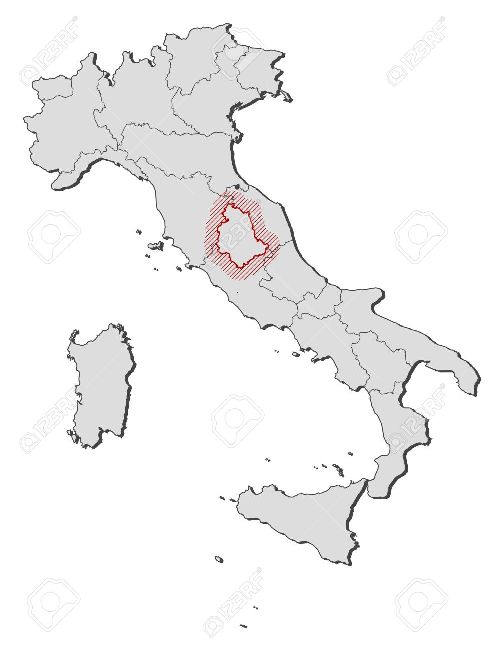 Map Of Italy With The Provinces Umbria Is Highlighted By A Hatching