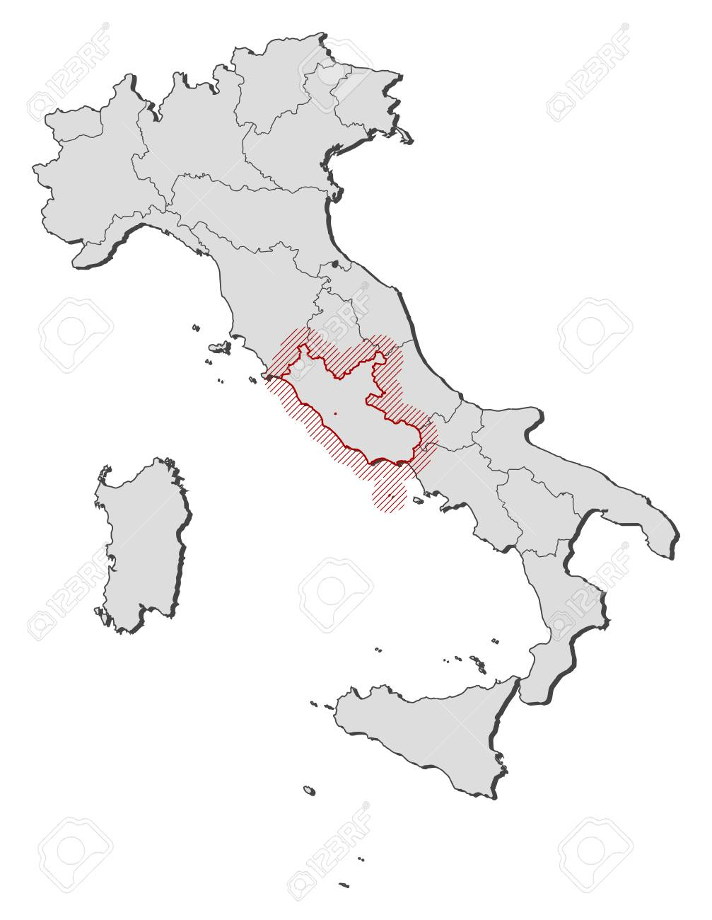 Map Of Italy With The Provinces Lazio Is Highlighted By A Hatching