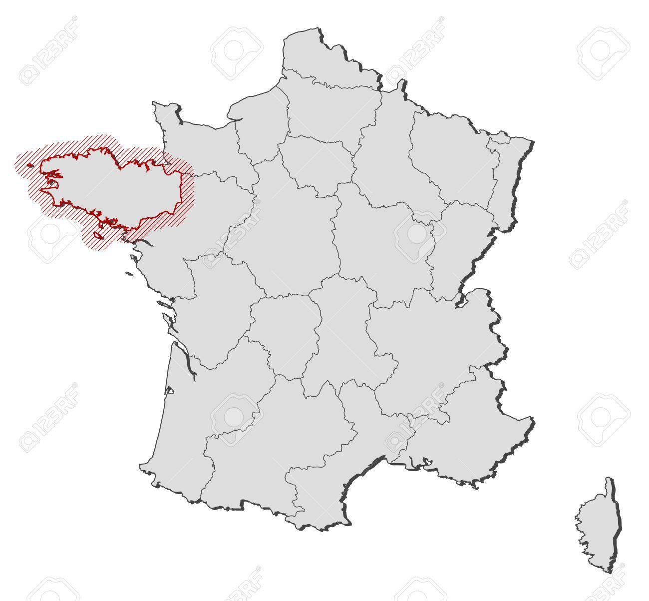 Cartina Muta Della Francia.Vettoriale Mappa Della Francia Con Le Province La Bretagna E Evidenziato Da Un Tratteggio Image 58075408