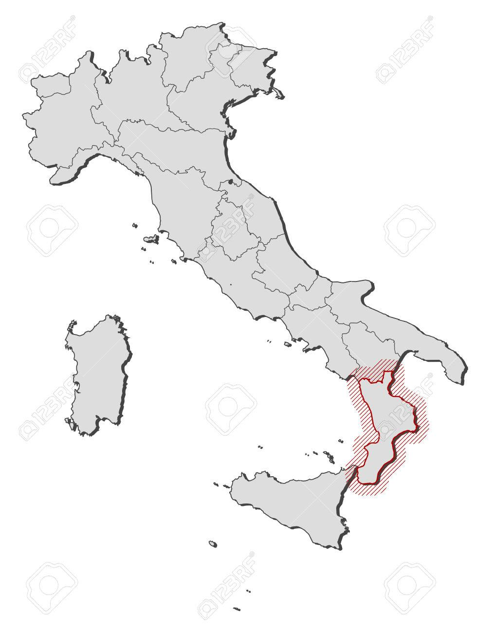 Map Of Italy With The Provinces Calabria Is Highlighted By A