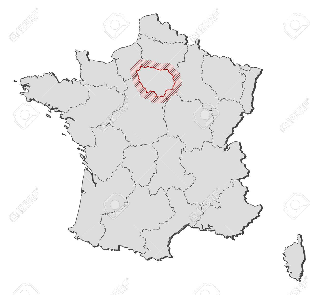 Map Of France Provinces.Map Of France With The Provinces Ile De France Is Highlighted