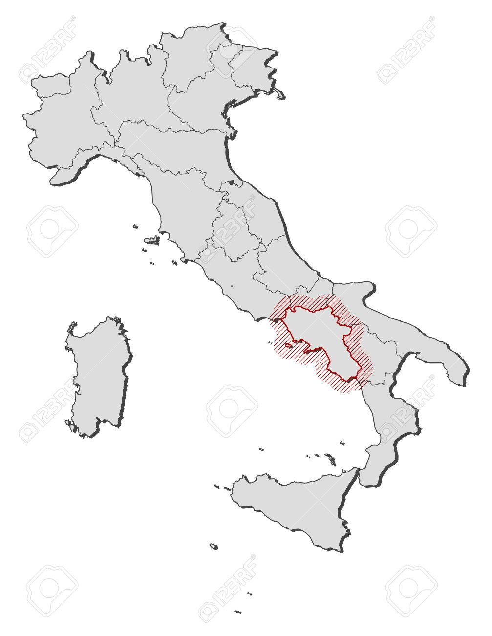 Map Of Italy With The Provinces Campania Is Highlighted By A