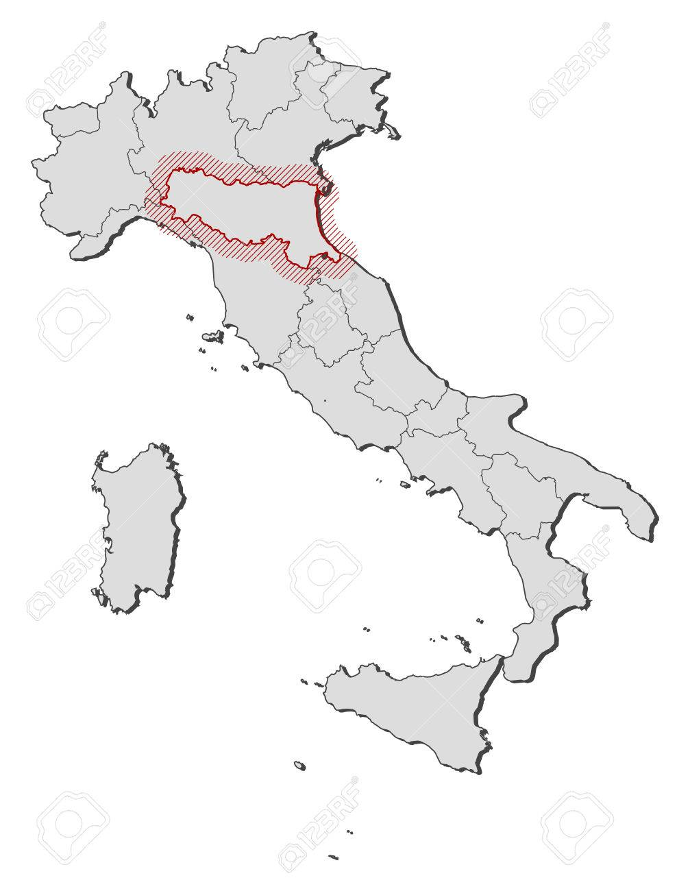Map Of Italy With The Provinces EmiliaRomagna Is Highlighted