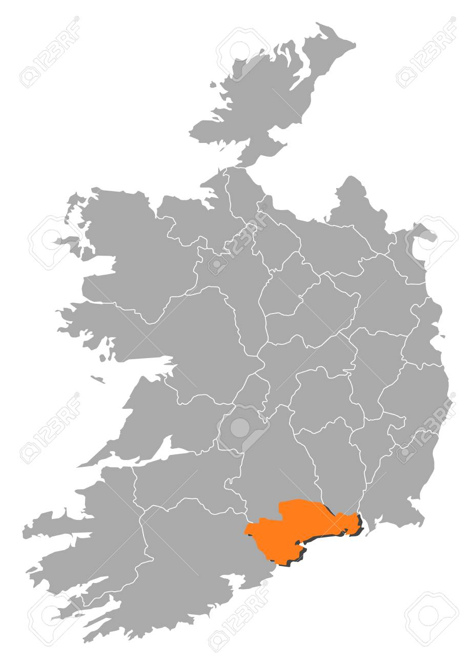 Map Of Ireland With The Provinces Waterford Is Highlighted By