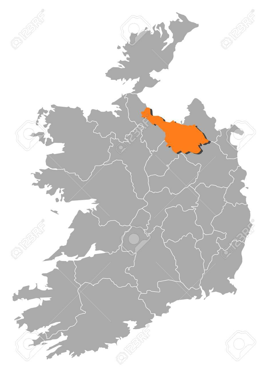Map Of Ireland Cavan.Map Of Ireland With The Provinces Cavan Is Highlighted By Orange