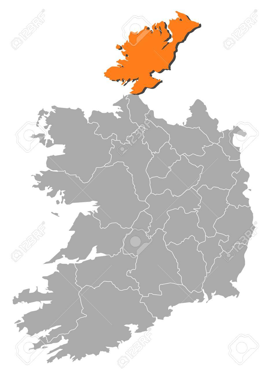 Donegal Map Of Ireland.Map Of Ireland With The Provinces Donegal Is Highlighted By