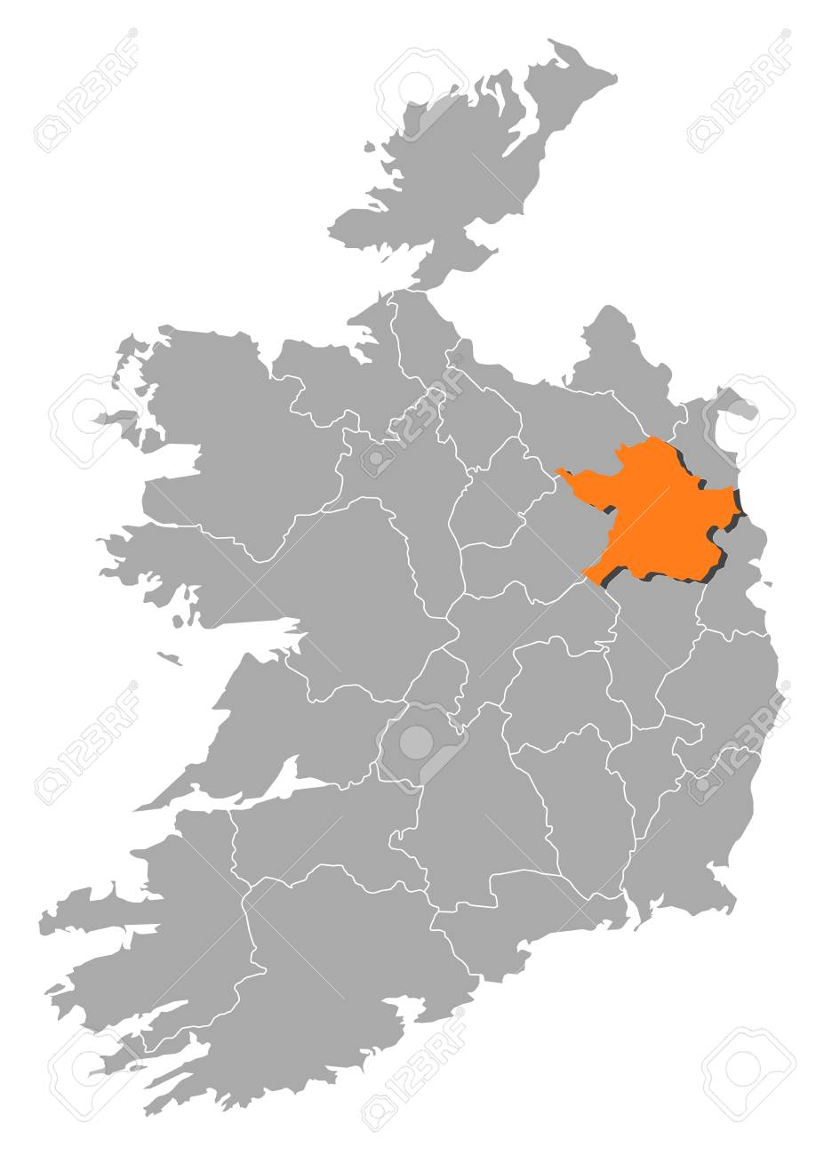 Map Of Ireland With The Provinces Meath Is Highlighted By Orange